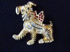 Kenneth J Lane Rhinestone Dog Brooch
