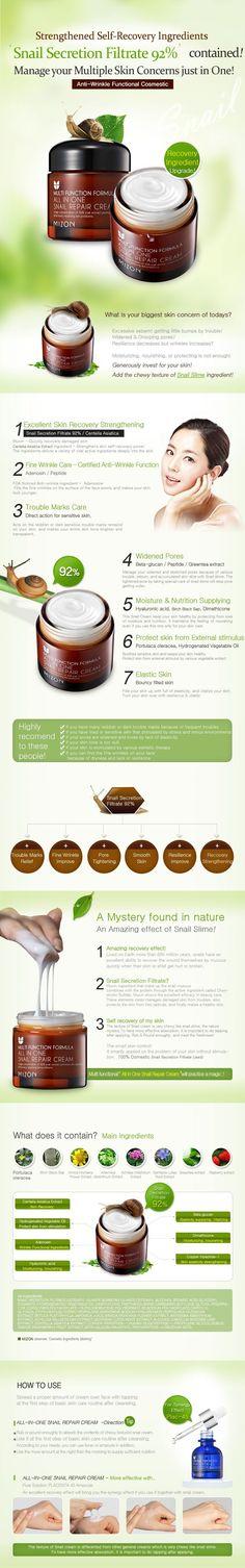 MIZON All In One Snail Repair Cream 75g Face Skin Care Moisturizing Anti-aging Anti wrinkle Facial Cream Korean Cosmetics.