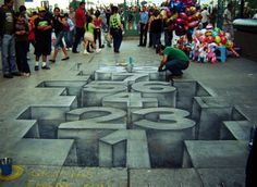 Very cool 3 D #chalk #drawings on the pavement