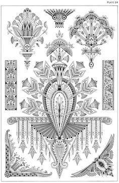 Welcome to Dover Publications - Egyptian Motifs in the Art Deco Style Inspiration for sternum Motifs Art Nouveau, Design Art Nouveau, Motif Art Deco, Art Deco Pattern, Art Deco Tattoo, Tatoo Art, Pinturas Art Deco, Jugendstil Design, Art Deco Stil