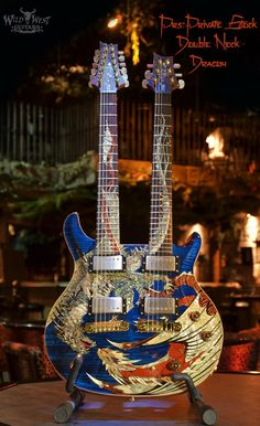 PRS Private Stock Double Neck Dragon  www.wildwestguitars.com. I am not sure how practical it is as an instrument, but it is a definite conversation piece