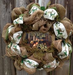 Hunting Deco Mesh Wreath by BaBamWreaths on Etsy, $79.00 Camo Wreath, Hunting Wreath, Burlap Wreath, Wreaths And Garlands, Deco Mesh Wreaths, Holiday Wreaths, Holiday Decor, Ornament Crafts, Wreath Crafts