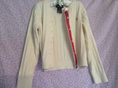 Ralph Lauren Girls Off White Cable Knit Cardigan Size 6 #RalphLauren #Cardigan