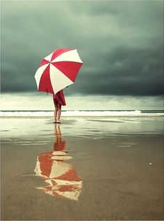 umbrellas and rainy days at the beach