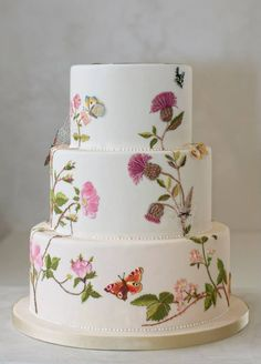Thistle painted on tiered cake.with natural butterflies . Lovely - by Kristina Rado Gorgeous Cakes, Pretty Cakes, Cute Cakes, Bolo Floral, Floral Cake, Fondant Cakes, Cupcake Cakes, Painted Wedding Cake, Hand Painted Cakes