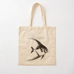 'Adventurer The Fish' Tote Bag by Beer-Bones Printed Tote Bags, Cotton Tote Bags, Reusable Tote Bags, Adventurer, Iphone Wallet, Bones, Shopping Bag, Digital Prints, Cotton Fabric