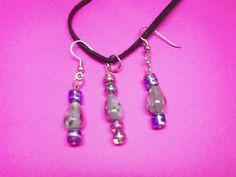 $20.00 Purple Glass Beads Necklace & Earrings