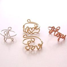 Ring . Wire Name Ring . Wire Initial Ring . Wire Word Ring . Personalized Ring . Wire Name Jewelry . Adjustable. $8.00, via