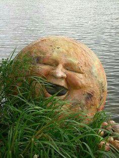 thanks for sharing happy moon face Sun Moon Stars, Sun And Stars, Moon Garden, Garden Art, Dream Garden, Luna Moon, Sculptures Céramiques, Moon Shadow, Moon Pictures