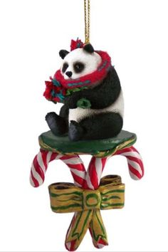 PANDA BEAR CANDY CANE Christmas Ornament New ACC04 ** Check this awesome product by going to the link at the image.