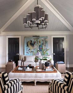 LOVE this huge ottoman used as a coffee table. Gorgeous! Jean-Louis Deniot French Design in a Bridgehampton Beach House - House Beautiful