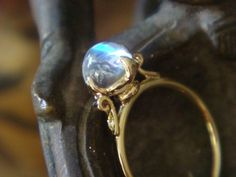 Lotus Ring in 18k Yellow Gold, Top Quality Blue Sheen Moonstone and Diamonds - Made to Order by HeartofWaterJewels on Etsy https://www.etsy.com/listing/60762599/lotus-ring-in-18k-yellow-gold-top