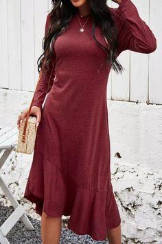 Long Dress Fashion Solid Elegant Ladies Long Sleeve Ruffle Asymmetrical Dresses For Women Spring Autumn Clothes New Arrival 2021 Long Dress Fashion, Fashion Dresses, Short Sleeve Dresses, Dresses With Sleeves, Long Sleeve, Autumn Clothes, Asymmetrical Dress, Elegant Woman, Casual Dresses For Women