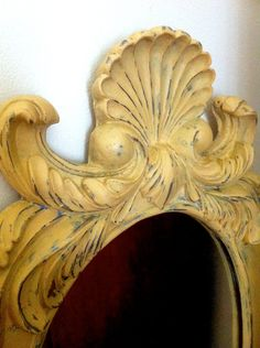 Hand painted Yellow Mirror in Chalk Paint® decorative paint by Annie Sloan. Provence with Gold via Etsy.