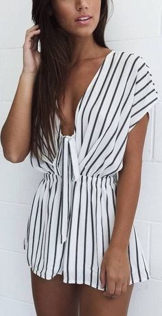 #summer #mishkahboutique #outfits | Stripe Playsuit