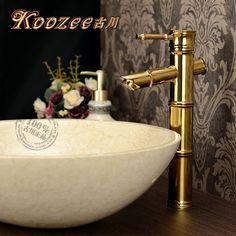 Fashion titanium gold basin faucet antique counter basin bamboo faucet