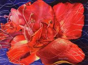 "Title:  Amaryllis II.  This blossom has inspired two paintings (so far).  The intense red fills the format, and my ""life interlacings"" are clearly visible.  This watercolor painting is in a private collection."
