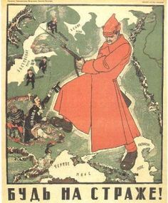 Russian Revolution taking over other countries.  The person in the red is Vladimir Lenin.
