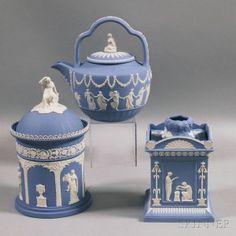 Wedgwood Light Blue Jasper teapot ,tobacco vase