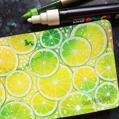 Loving these limes - Posca and Uniball over watercolor in Moleskine #sketchaday…