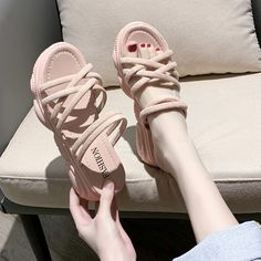 Korean Sandals, Korean Shoes, Swag Shoes, White Wedges, Lace Up Flats, Girls Shoes, Black Boots, Me Too Shoes, Casual Shoes