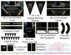 Call Of Duty Black Ops 10 Printable Customizable Party Package by partyprintsandpieces, $35.00