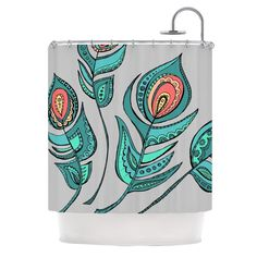 "Kess InHouse Brienne Jepkema ""Feathers Gray"" Grey Teal Shower Curtain"