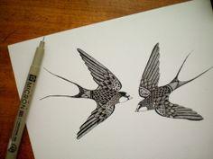 Swifts by amelia herbertson Awful Tattoos, Cool Tattoos, Swallow Tattoo Design, Tattoo Swallow, Vogel Tattoo, Modern Tattoos, Tangle Patterns, Beautiful Tattoos, Arm Tattoo