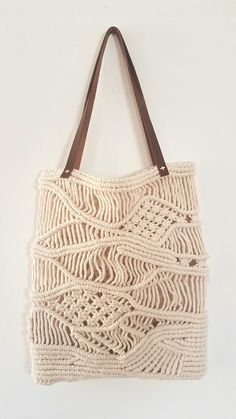 Items similar to Large Macrame Bag with leather handles on Etsy Macrame Bag, Macrame Patterns, Leather Handle, Straw Bag, Reusable Tote Bags, Trending Outfits, Unique Jewelry, Handmade Gifts, Etsy