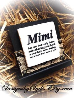 Mimi Sign  Wood  Stone  Standing Wood Block  Sign by DesignsBySyds