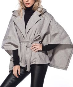 Another great find on #zulily! Gray Comb Tie-Waist Hooded Poncho #zulilyfinds