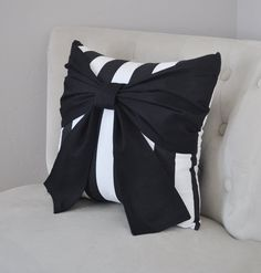 Throw Pillow Black Bow on Black and White Stripe Pillow -Black and White Stripe Pillow- – 2019 - Pillow Diy Bow Pillows, Black Pillows, Throw Pillow, Romantic Bedroom Decor, Trendy Bedroom, Bedroom Ideas, Gold Bedroom, Bedroom Black, Bedroom Sofa