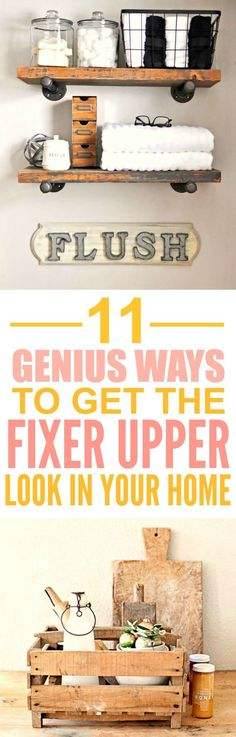These 11 Fixer upper farmhouse DIY and style ideas are THE BEST! I'm so happy I found these GREAT decor tips! Now I can finally make my home look like how Chip and Joanna decorate their house! Definitely pinning for later!
