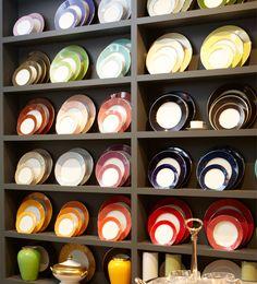 Showroom Legle Sous le Soleil coloured porcelain plates Harlequin London