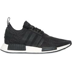 Adidas Originals Women Nmd_r1 Primeknit Sneakers ($225) ❤ liked on Polyvore featuring shoes, sneakers, black, black mesh shoes, adidas originals sneakers, adidas originals trainers, kohl shoes and stripe shoes