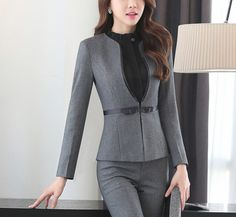 Details about Two Piece Formal Work Pant Suit long Sleeve Office Lady suit  set Women Business 342eba3db653