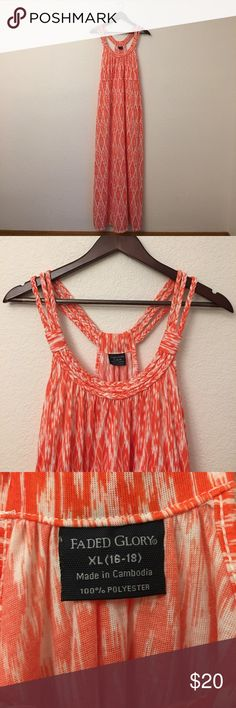 Faded Glory Sundress XL Beautiful orange and white Faded  Glory sundress. NWOT. Braided shoulder accents. Razorback style. 61 inches from shoulder to hem. 32 inches around the ribcage. Faded Glory Dresses Maxi
