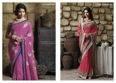 Pink color georgette material saree  with elegant patches & border patta...  &...  Terrific resham work on carrot pink georgette material saree with bhagalpuri blouse piece