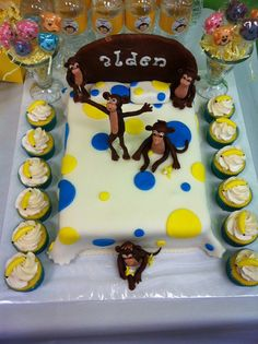 Dude's 3rd birthday cake.  Monkey party. 5 Little monkeys jumping on a bed.