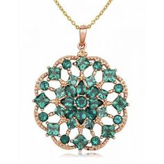 Rose Gold Over Sterling Silver and Synthetic Green Quartz Kaleidoscope Pendant