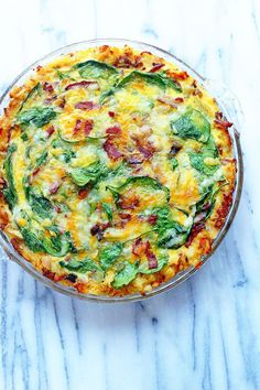 Classic Spinach & Bacon Quiche with a hash brown twist!