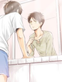 Imagine the entire show being a dream. And Eren wakes up and goes to the bathroom and sees the reflection and then his mom comes in and he starts crying...