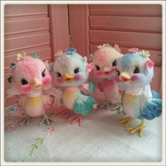 Bright colored needle felted Vintage style birdies. If I ever made a needle felted bird, I want them to look like this.