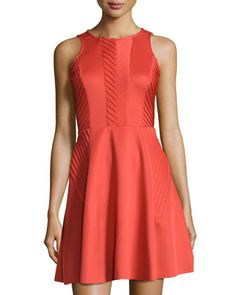Chevron-Pintucked Fit-And-Flare Dress, Orange by Suzi Chin for Maggy Boutique at Neiman Marcus.