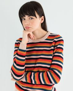 We want one for each color, but the striped one is fine on Mondays.  No pout, only wool crew-neck pullover on www.lazzarionline.net and in our stores.