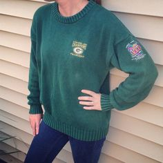 Vintage 90s Green Bay Packers Superbowl XXXI Champions Sweater with Embroidered Logo (Size: Medium - Women)