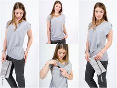 Stillmode - Stillbluse Wave grau - ein Designerstück von Mania-Stillmode bei DaWanda