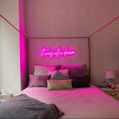 It was all a dream Custom LED Neon Sign for Wedding, Office, Events, Parties & Home - Create your own design Room Ideas Bedroom, Small Room Bedroom, Cool Bedroom Ideas, Dorm Room, Cute Room Decor, Teen Room Decor, Neon Sign Bedroom, Indie Bedroom Decor, Neon Lights Bedroom