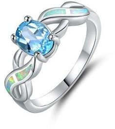Peermont 18k White Gold Plated Blue Topaz & Opal Ring.