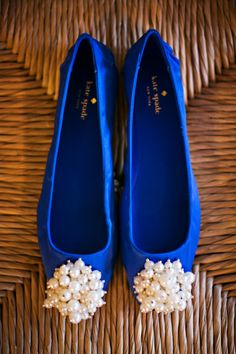 Blue Kate Spade flats for wedding shoes? Yes please!